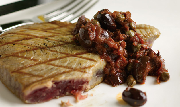 Grilled Tuna with Red Wine, Caper, and Olive Sauce
