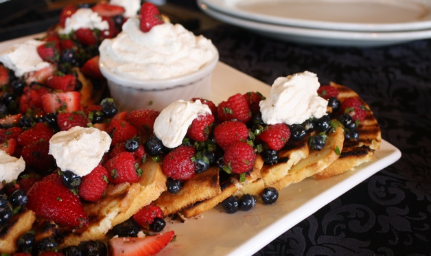 Grilled Pound Cake with BerrySalsa and Tequila Whipped Cream