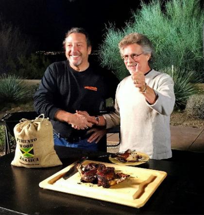 Gary Feblowitz and Steven Raichlen on the set of Project Smoke