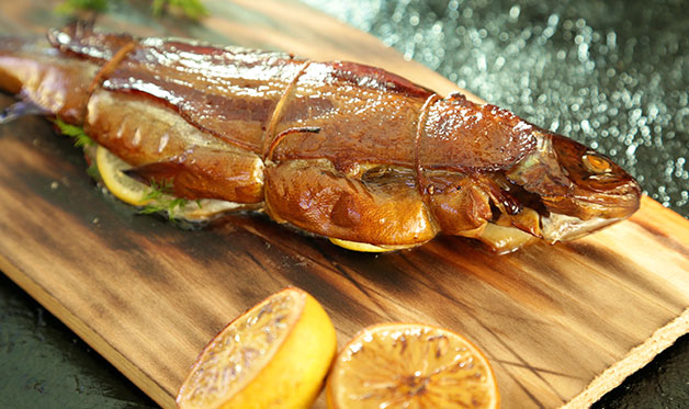 Smoked Planked Trout
