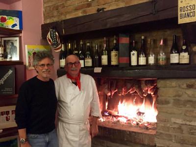 Steven Raichlen with Cesare Giacone in Alba, Italy
