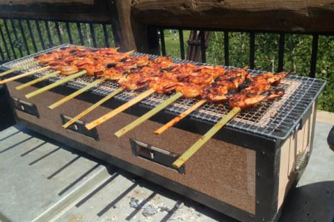 Hibachi grill with shrimp