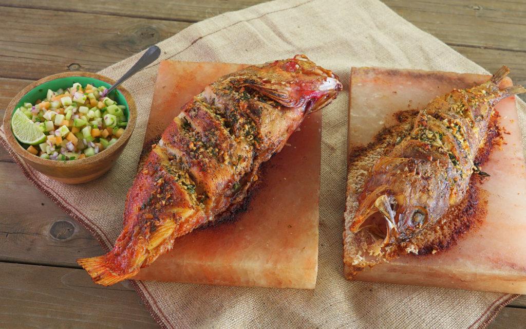 Salt Slab-Grilled Rockfish with Melon Mint Relish