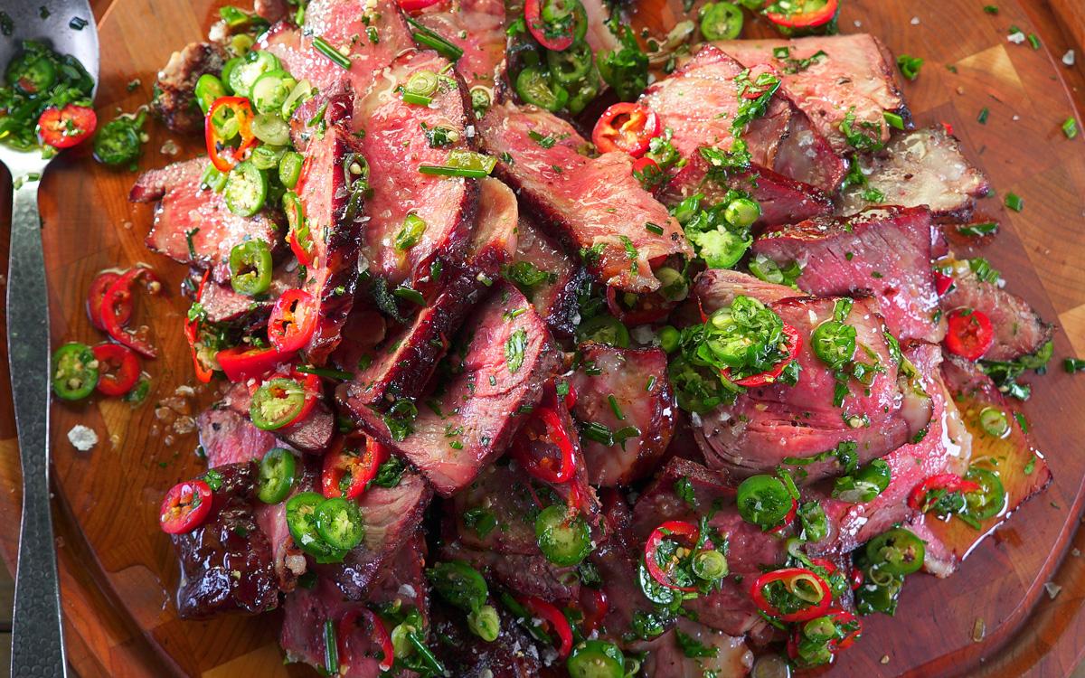 Cherry-Smoked Strip Steak with Cutting Board Sauce