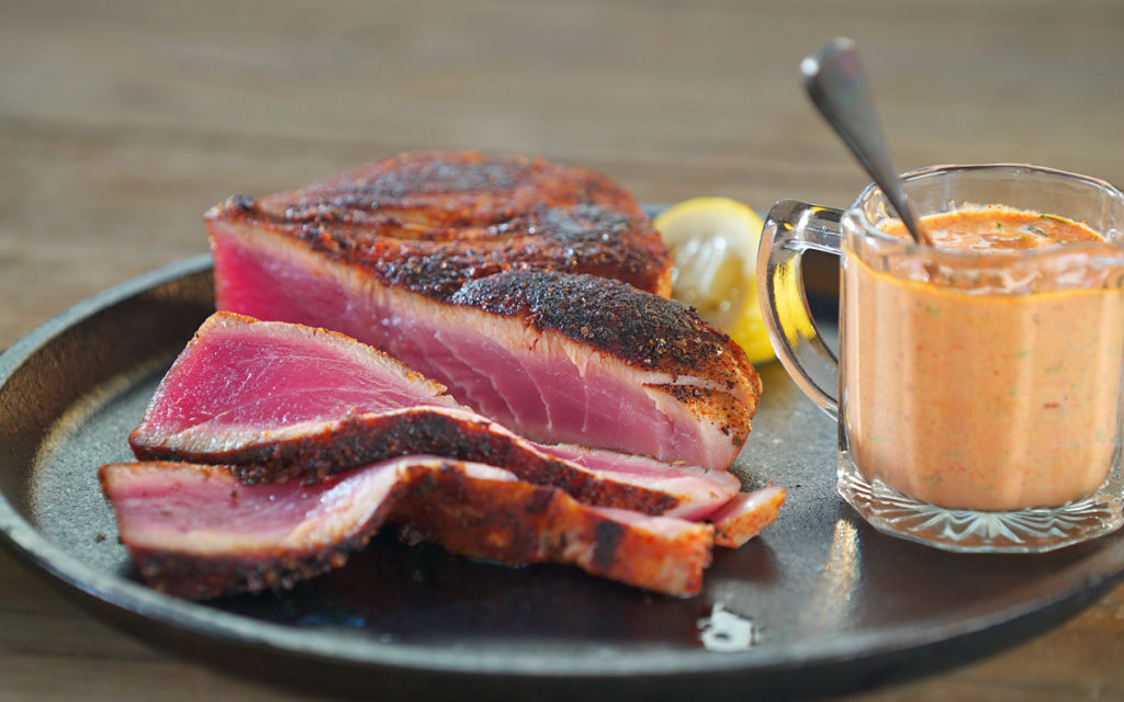 Grill-Blackened Tuna with Cajun Remoulade