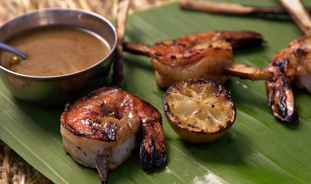 Sugar Cane Shrimp With Spiced Rum Glaze