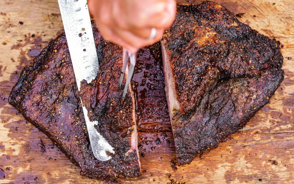 Trim any excess fat off the top of the brisket