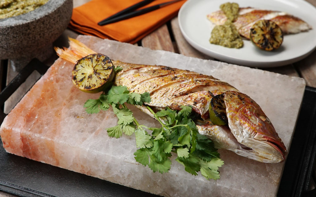 Whole Grilled Snapper in Pipian Sauce