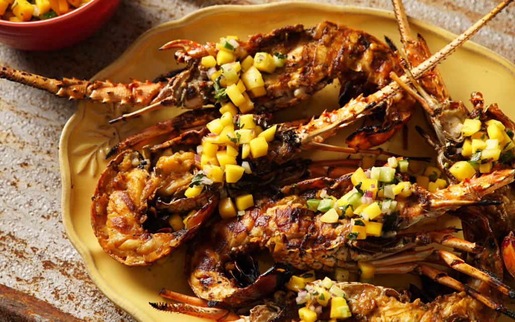 Grilled Florida Lobster, Rum Butter Basted