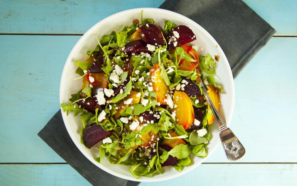 Smoked Beet Salad with Smoky Raisin Vinaigrette