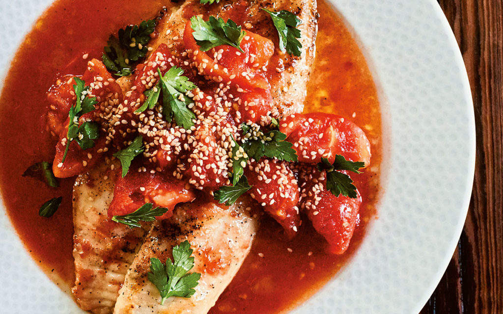 Grilled Catfish with Barely Cooked Tomatoes