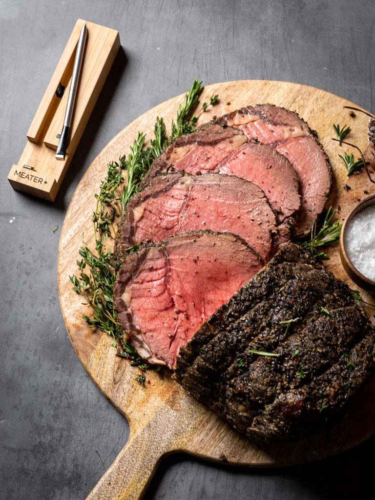 Sliced prime rib with Meater meat thermometer