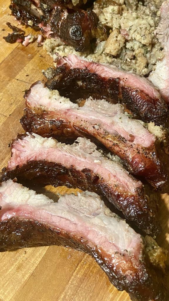 Sliced crown rack of ribs
