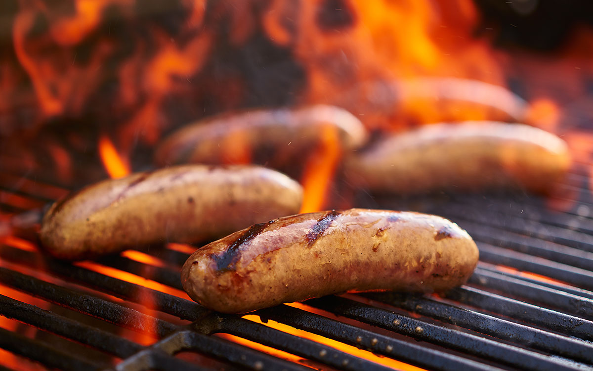 Brats on grill grate