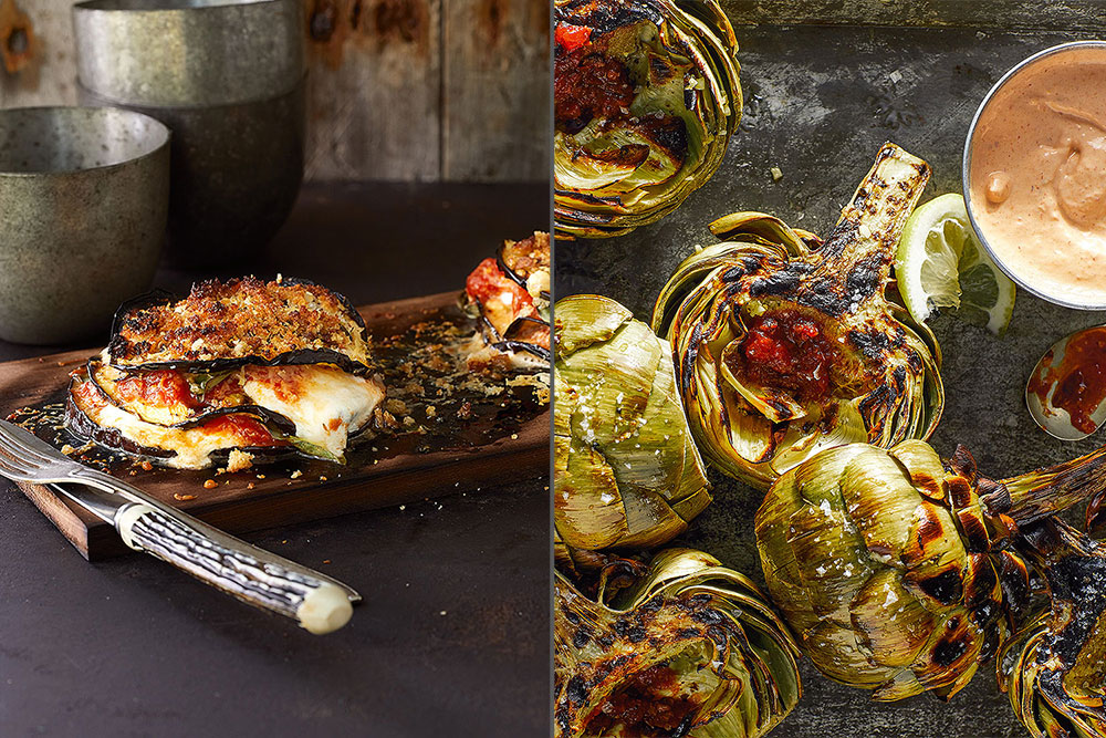 Eggplant Parmigiana and Grilled Artichokes in How to Grill Vegetables
